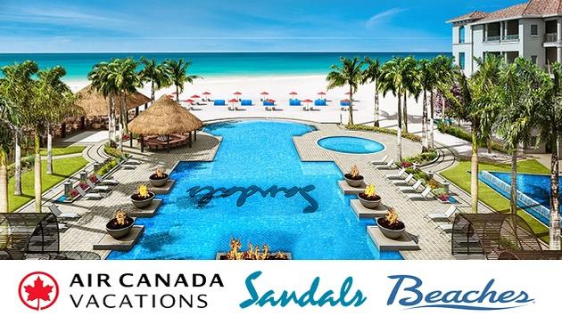 The sandals resort pool in Barbados, with beach in background