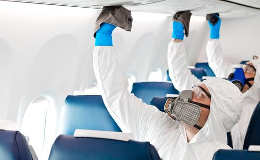 Cleaning an aircraft interior in the COVID-19 era.