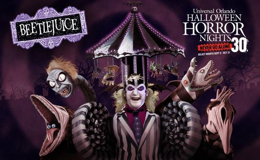 Beetlejuice at Universal Orlando's Halloween Horror Nights 2021.