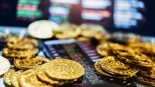 Gold Bitcoins, Digital crypto-currency used for blockchain Technology