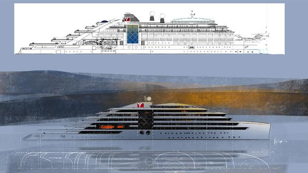 Norwegian Yacht Voyages' M/Y Caroline final design rendering versus old concept (inset)