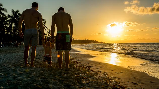 gay parents, beach, traveling