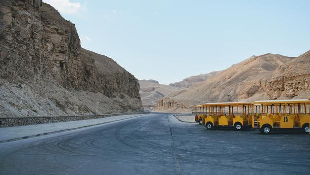 Empty Trolleys Ready to Take the First Visitors into the Valley of the Kings