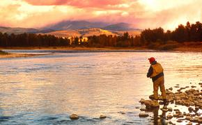 Damon flyfishing on the Blackfoot River near Missoula, Montana