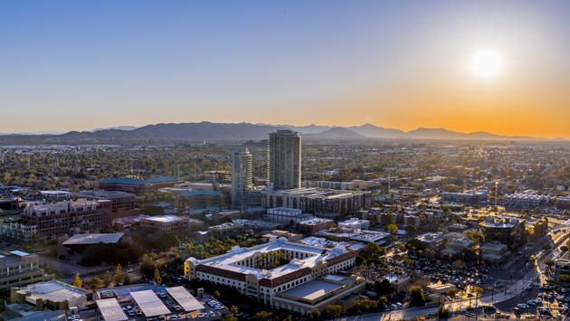 Overlooking Phoenix, Arizona at sunset