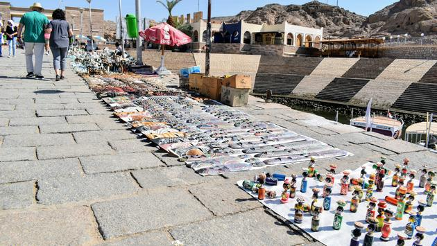 Goods Laid Out for Sale Outside Dock for Temple of Isis