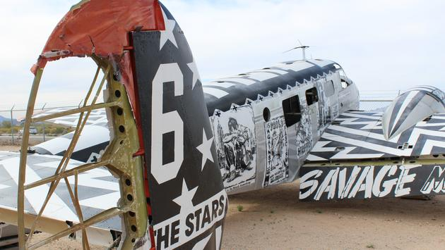 Outside boneyard at Pima Museum