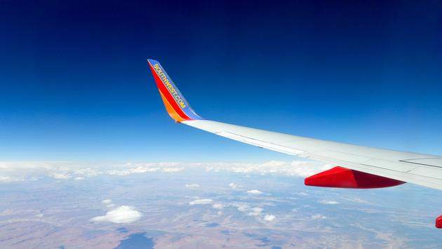 A Southwest airplane wing