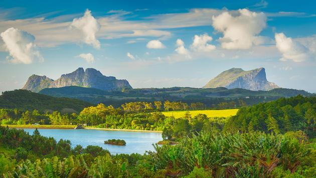 View of a lake and mountains, Mauritius
