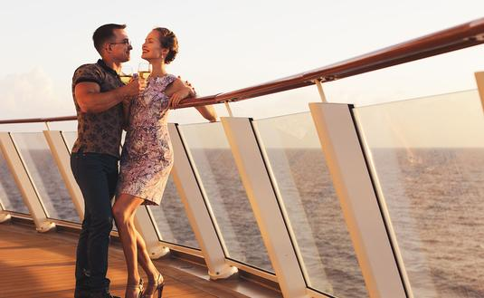 man and woman on the cruise liner