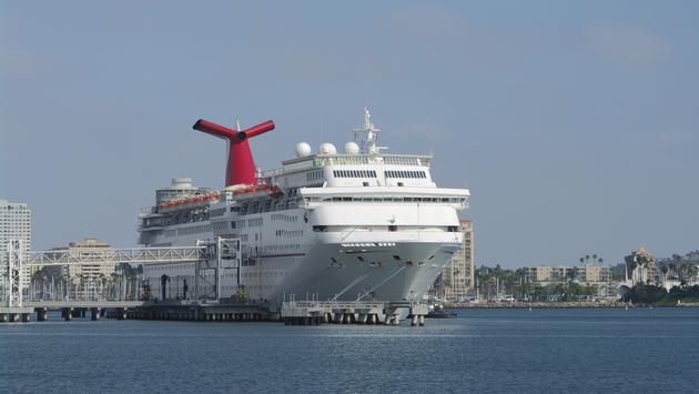 Carnival Cruise Line ship docked in Long Beach, California