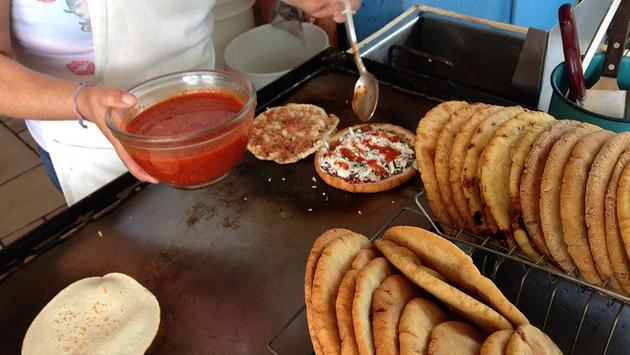 Gorditas de Chicharro´n en Salsa Roja being prepared in Mexico