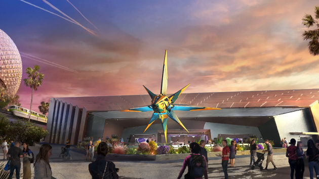 Rendering of the new Guardians of the Galaxy-themed EPCOT pavilion.