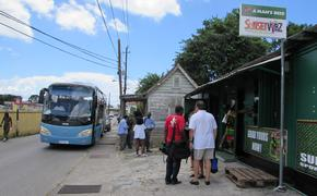 Outside a Barbados rum bar