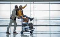 young couple is having fun in terminal