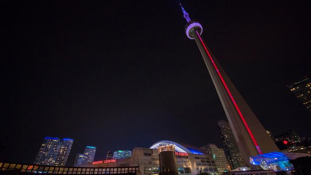 Evening view outside Rogers Centre in Toronto Canada