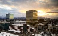 Fresh snowfall in downtown Anchorage, Alaska during sunrise.