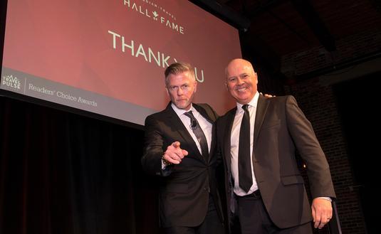 Mark Murphy and John Kirk posing at the 2018 TravelPulse Canada Readers Choice Awards
