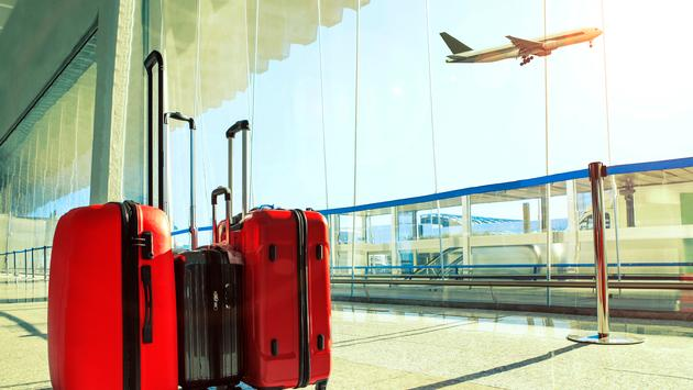 traveling luggage in airport