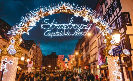 Entrance to the main shopping lane in Strasbourg's Christmas Market in Alsace, France.
