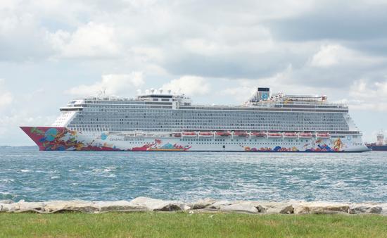 Genting Dream cruise ship viewed from Kusu Island, Singapore
