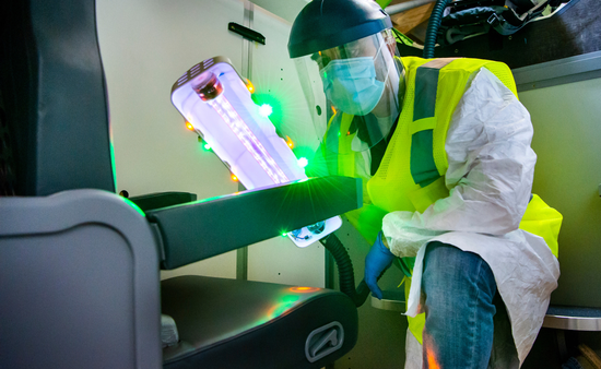The UV wand can disinfect high touch surfaces