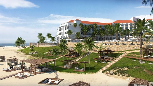 Rendering of the new Beach Club at Hilton Los Cabos Beach & Golf Resort.