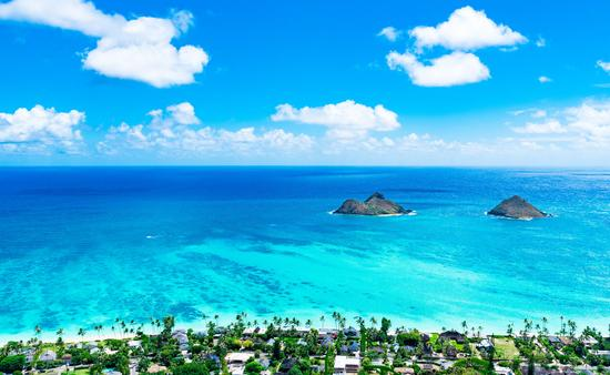 Aerial view of Hawaii's Lanikai Beach