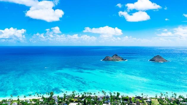 Aerial view of Hawaii's Lanikai Beach