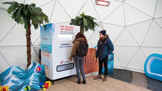 """Carnival Cruise Line's """"Stop and Smell the Caribbean"""" marketing pop-up"""