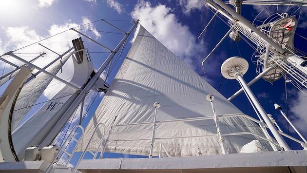The dramatic sails unfurled on Windstar Cruises' Wind Spirit
