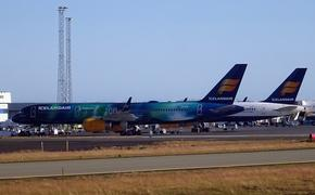 Icelandair planes parked at Iceland's Keflavik Airport