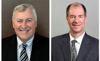 Medjet's newly appointed CEO Mike Hallman (above, left)  replaces outgoing 20-year veteran CEO Roy Berger (right)