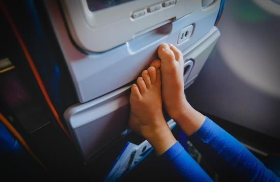 Bare feet on an airplane