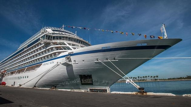 Viking Ocean Cruises' Viking Sun awaits its first world cruise from Miami, Florida