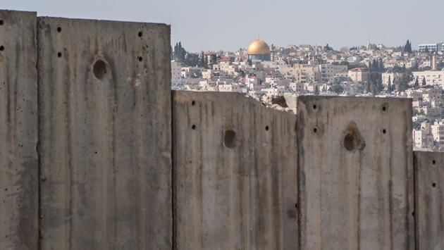 Dome of the Rock and Israeli separation wall