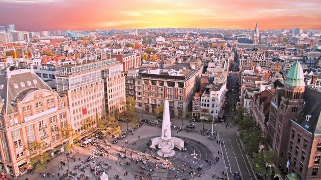 City scenic from Amsterdam in Netherlands at sunset