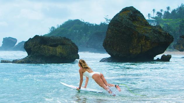 Surfing on Barbados