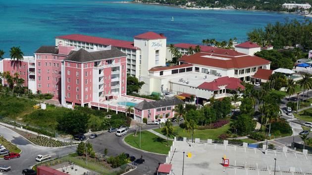 Bahamas coast and Breezes resort from Baha Mar