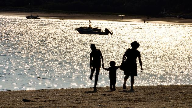 Silhouette of a family in Cape Cod, Massachusetts