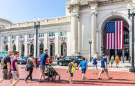 Families crossing the road at Union Station in Washington, DC