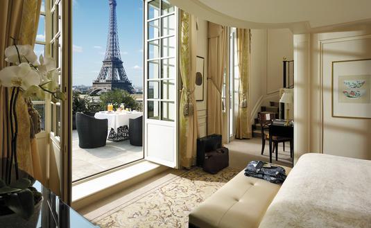 Eiffel Duplex Terrace Suite at Shangri-La Hotel, Paris.