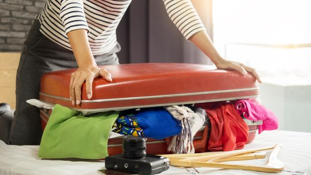 Overpacked woman