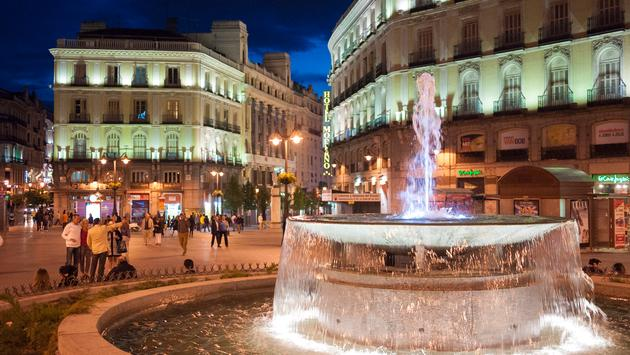 Fountain at Puerta del Sol in Madrid