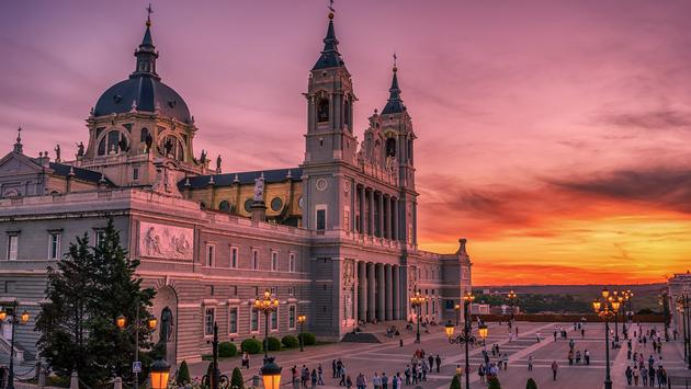 The Cathedral of Saint Mary the Ryoal of La Almudena at sunset