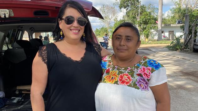 Lori Swinderman at a Mayan village.