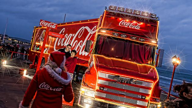 The Coca-Cola Truck at a holiday season stop-off in England
