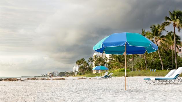 A storm threatens Naples Beach, Florida.