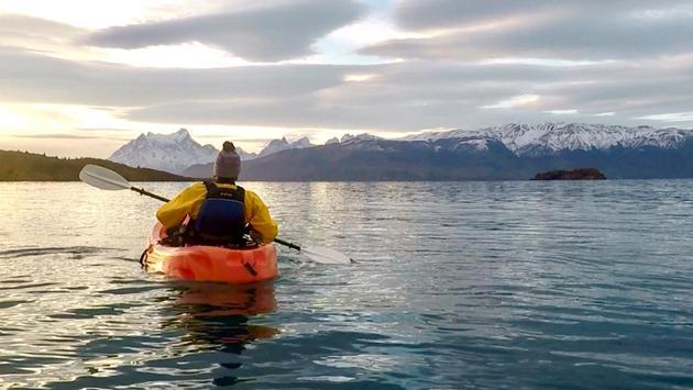 Patagonia Camp man on kayak