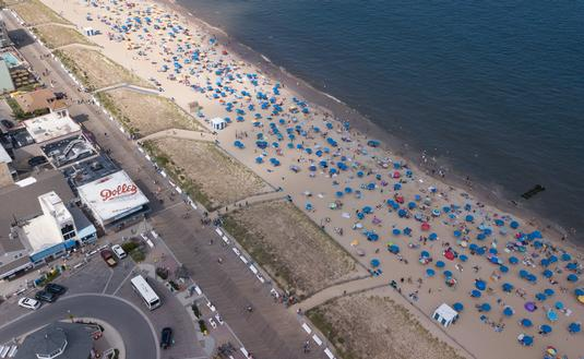 Aerial view of Rehoboth Beach, Delaware